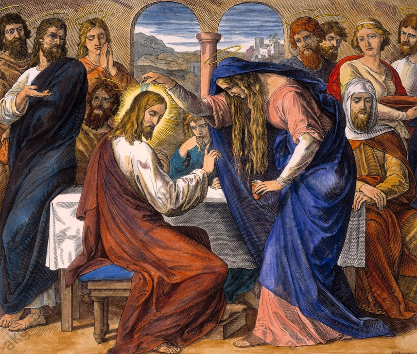 Maria von Bethanien salbt Jesus zu seinem Begräbnis