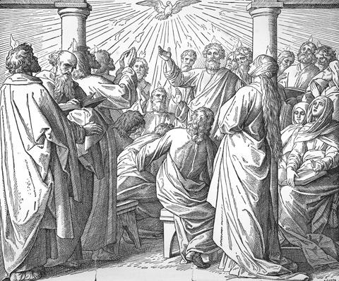 Die Ausgießung des Heiligen Geistes - Apostelgeschichte 2, 2 - 4.