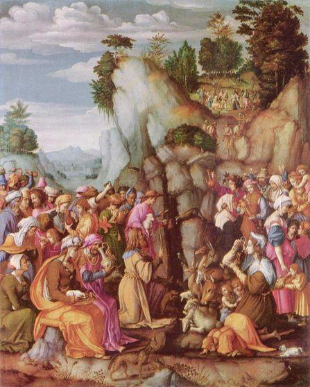 Moses schlägt Wasser aus dem Felsen